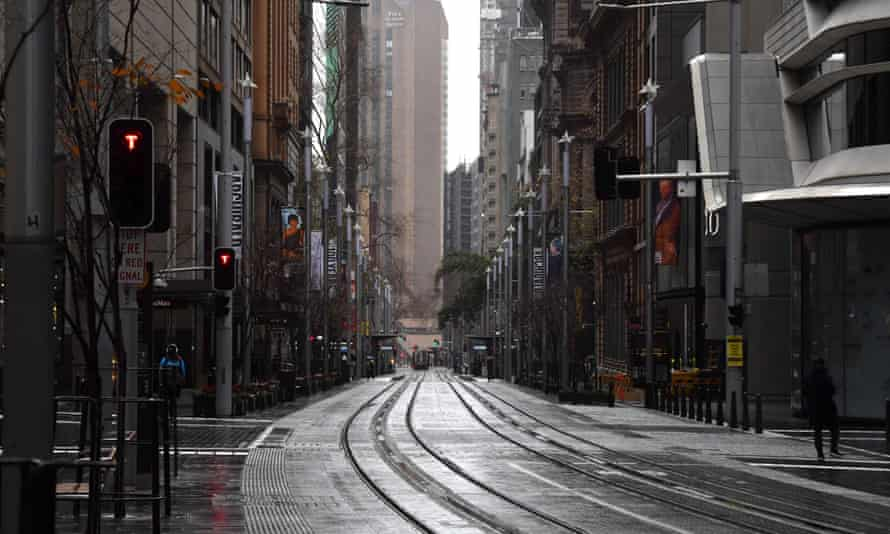 An empty street in the central business district (CBD) of Sydney, Australia