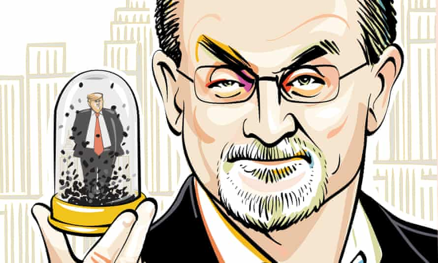 Taking on America … Salman Rushdie. Illustration by Kathryn Rathke.