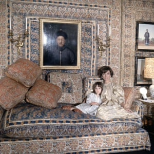 Lee Radziwill with daughter Anna Christina in the Turquerie room of their London house. Photographed for Vogue in 1966