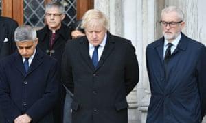 Mayor of London Sadiq Khan, prime minister Boris Johnson and Labour leader Jeremy Corbyn take part in a vigil for London Bridge victims.