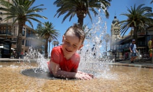 A child finds relief from the hot weather in Adelaide, South Australia.