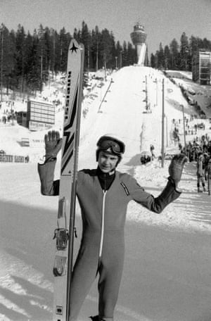 Matti Nykanen at the Puijo ski jumping competition in Kuopio, Finland in 1981