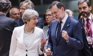 Theresa May with Mariano Rajoy