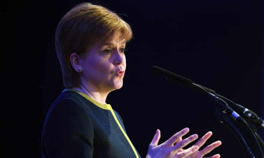 Nicola Sturgeon, the first minister of Scotland, delivers a speech.