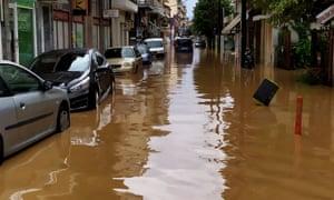 flooded street in Karditsa, Greece