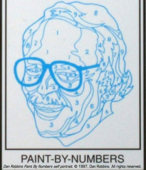 This image provided by Larry Robbins shows a numbered outline of a self portrait of Dan Robbins.