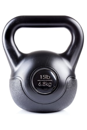 Close-Up Of Black Kettlebell Over White BackgroundWeight, isolated on white background
