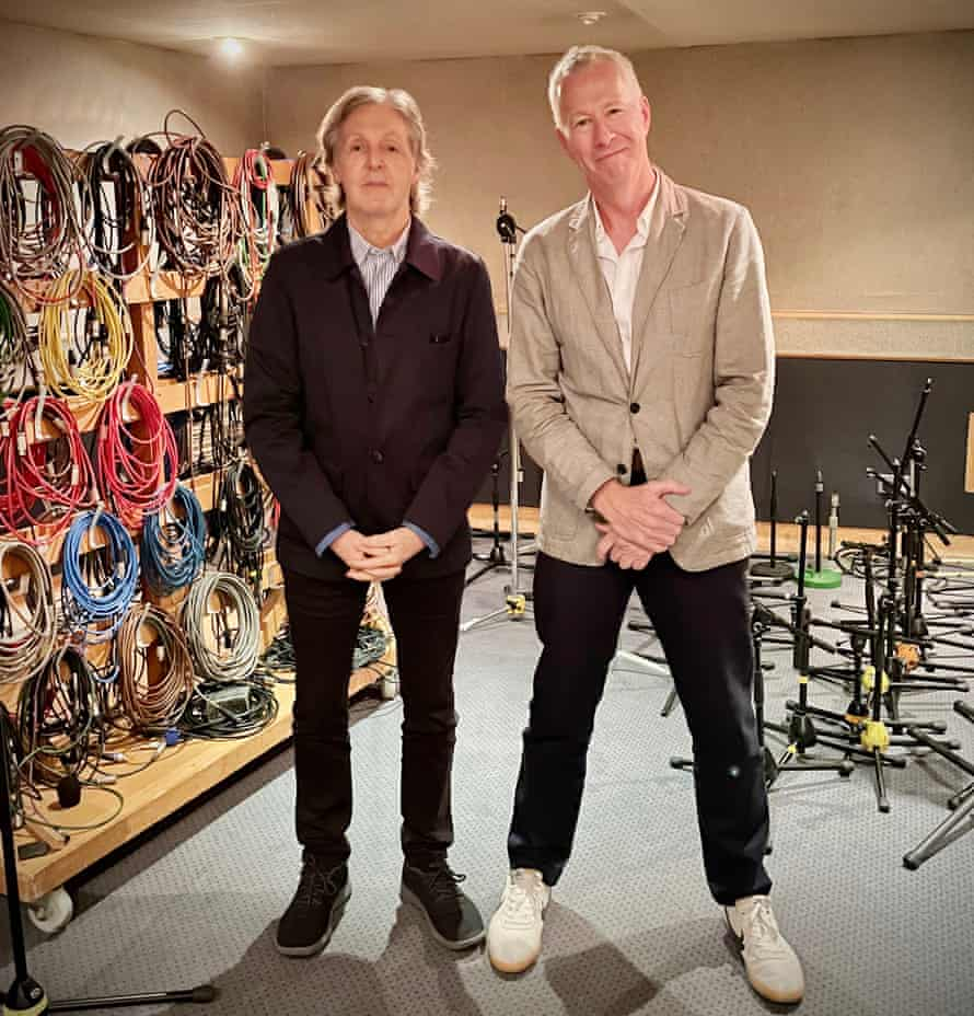 Paul McCartney with John Wilson, his interviewer for This Cultural Life on BBC Radio 4.