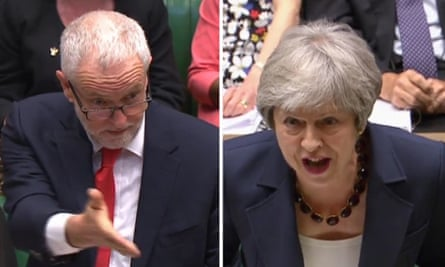 Facing the test … Jeremy Corbyn and Theresa May during Prime Minister's Questions.