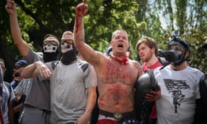 Trump supporters face off with protesters at a recent 'free speech' rally in Berkeley.