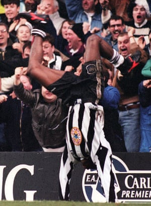 Asprilla celebrates after scoring for Newcastle in their 3-3 draw against Manchester City in February 1996.