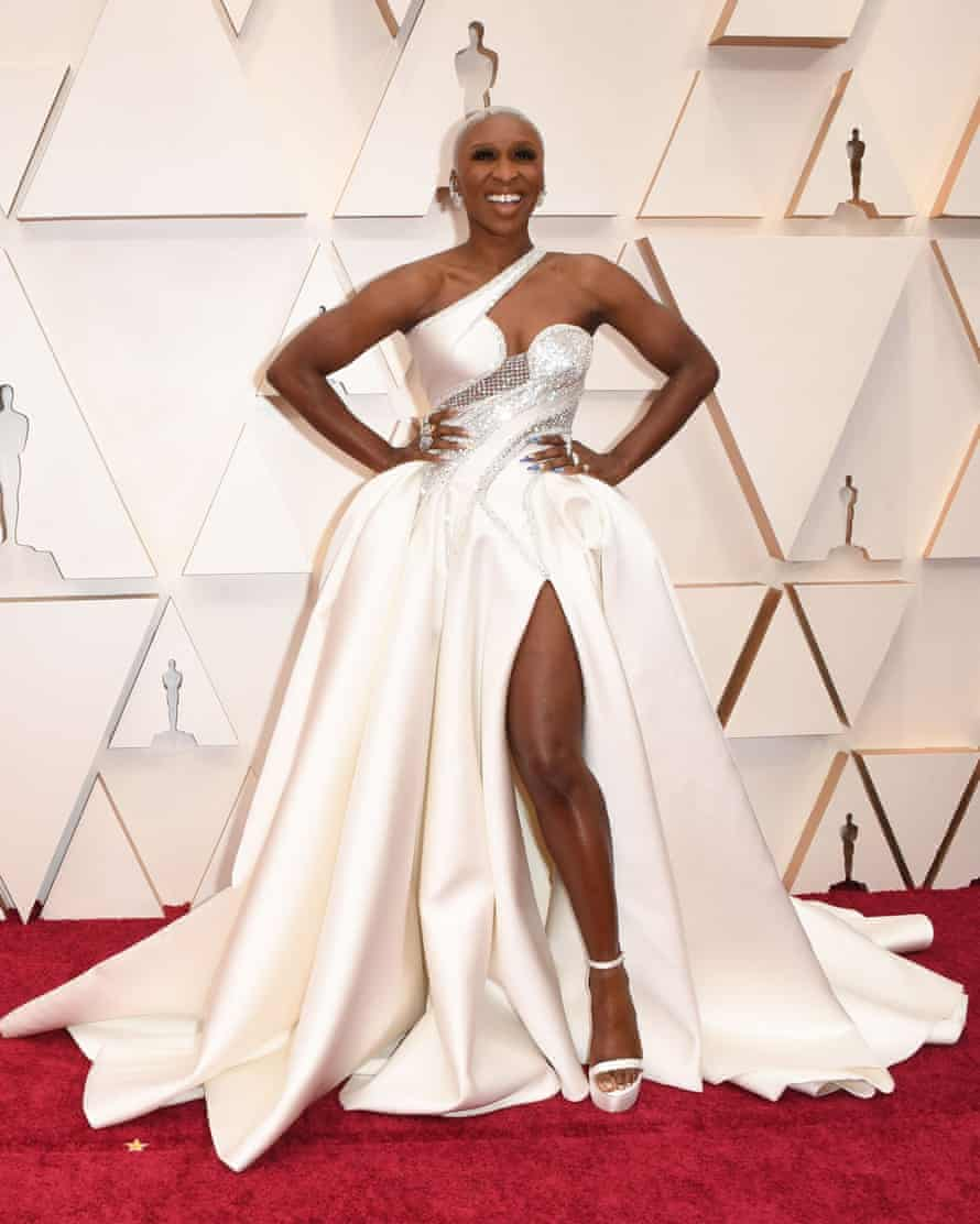 British actress Cynthia Erivo in a Versace gowqn