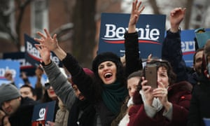 People wait to hear presidential candidate Bernie Sanders at a rally at Brooklyn College on 2 March.
