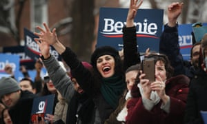 Bernie Sanders supporters in New York City.