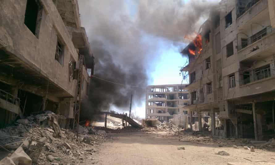 Darayya, a suburb of Damascus, seen after an airstrike