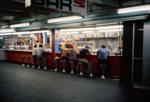 View of Times Square subway lunch counter near Broadway and 42nd Street