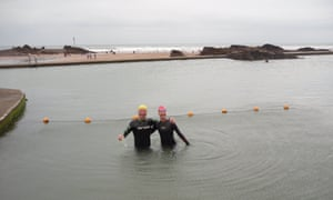 Bill O'Mahony, left, at Bude sea pool, Cornwall