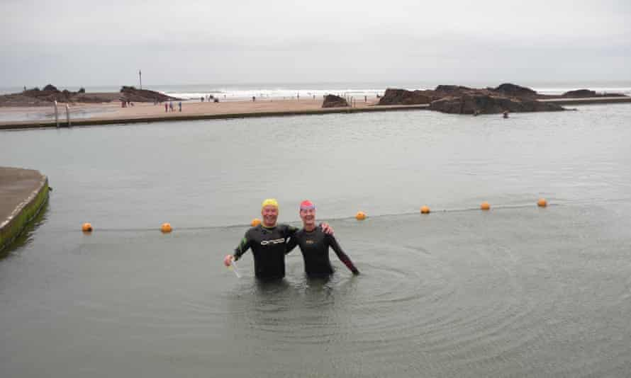 Bill O'Mahony, left, at Bude sea pool, Cornwall