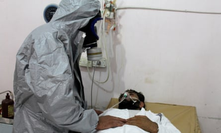 A mustard gas victim is treated after an Isis attack in Syria in September 2015.