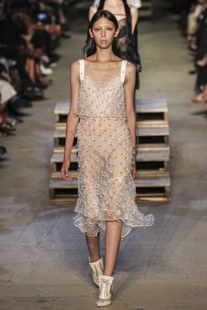 Givenchy S/S 16 slip dress at New York fashion week.