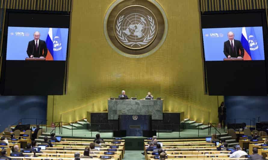 Vladimir Putin addresses the UN in September.