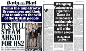 Daily Mail blast: on the front page and the leader page.