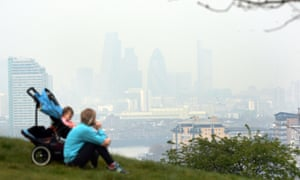 The view from Greenwich in London as pollution hangs over the city