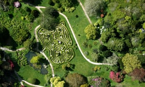 Aerial view of Glendurgan Gardens maze, Cornwall.