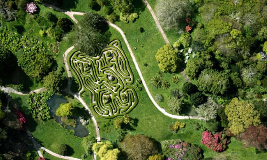 Aerial view of Glendurgan Gardens maze, Cornwall.