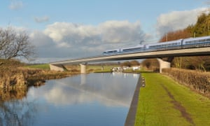 An artist's impression of an HS2 train on the Birmingham and Fazeley viaduct, part of the proposed route for the scheme