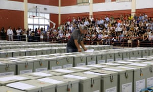 Ballot boxes are lined up at an indoor sports stadium in Nicosia, Cyprus.