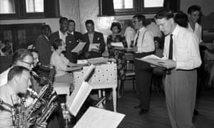 Lord Rockingham's XI, the house band from the ITV show Oh Boy, 1958, with the show's producer, Jack Good, second from right, wearing glasses.