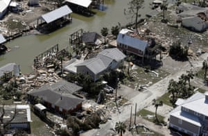 "An aerial photo shows homes destroyed in Mexico Beach. ""Ground zero"" for the storm was Mexico Beach, with entire blocks of homes completely wiped away"