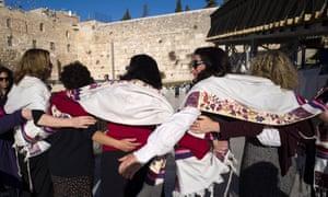 Women of the Wall wearing prayer shawls