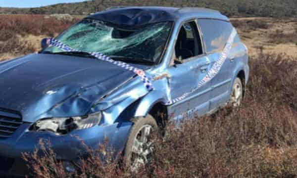 A car that was involved with a collision with a feral horse on the Snowy Mountains highway