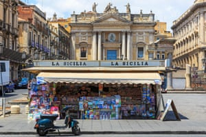 A newsagent and tobacconist on Via Etnea, Catania, Sicily.