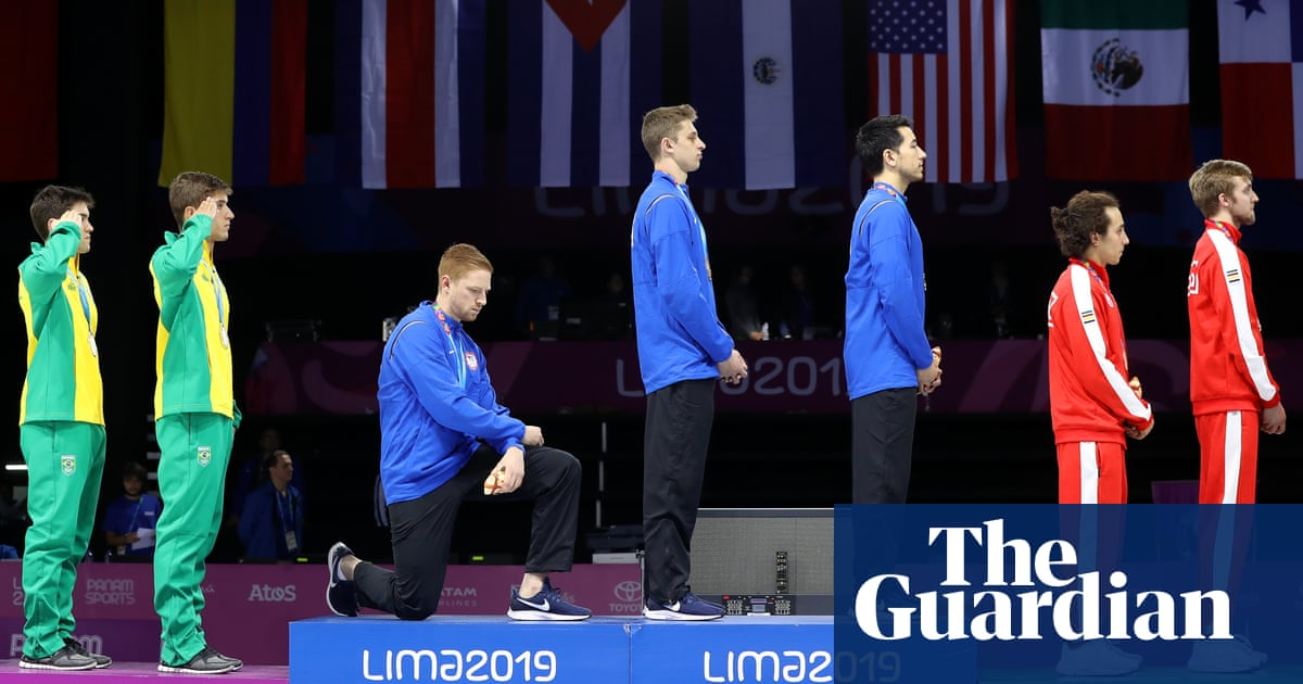 Race Imboden takes a knee and joins tradition of US athlete protests – video