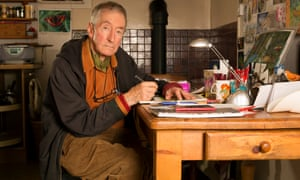 Snowman creator Raymond Briggs working at his kitchen table.