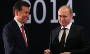 Kirsan Ilyumzhinov and Vladimir Putin at a World Championship chess match in Sochi in 2014.