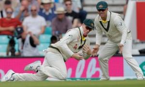 Australia's second slip Steve Smith catches out England's Joe Denly.
