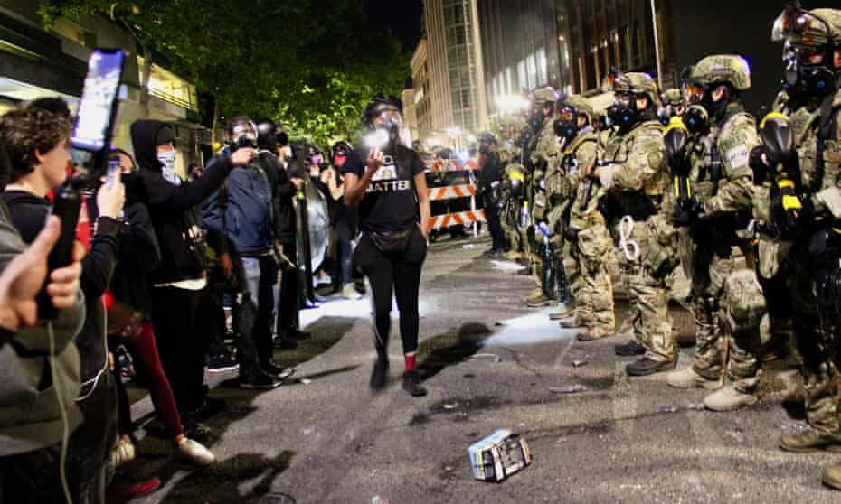 The Portland protests have intensify in size and violence as demonstrators rage against Trump's military agents, on 26 July.