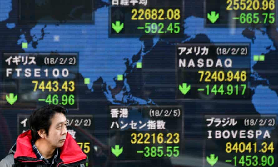 The stock markets board in Tokyo show falls across the world.