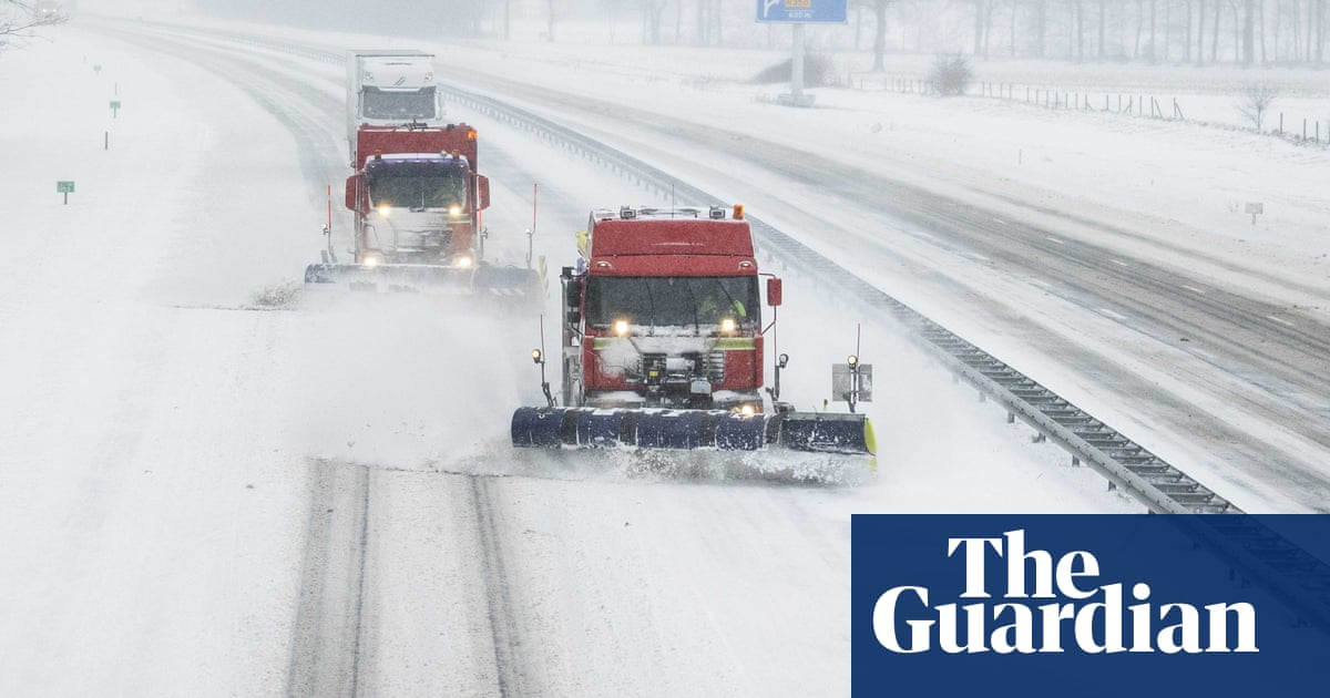 Storm Darcy brings heavy snow and travel disruption to Europe – video