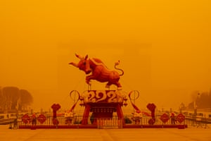 Jiuquan, China: The strongest sandstorm in a decade blows through the city.