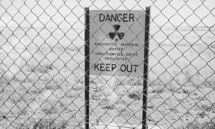 A radioactive warning sign in Maralinga village in South Australia in 1952.