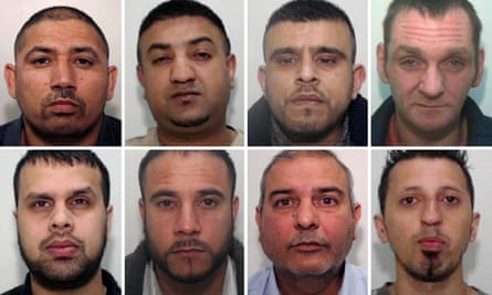 Eight of the nine men jailed on Friday: (top row L-R) Abid Khan, Afraz Ahmed, Choudhry Ikhalaq Hussain, David Law; (bottom row L-R) Kutab Miah, Mohammed Dauood, Mohammed Zahid and Rehan Ali