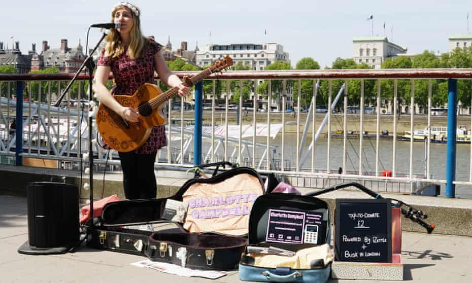 Busker Charlotte Campbell in London