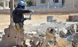A UN weapons inspector collecting samples at Ain Terma, near Damscus, Syria, on 28 August 2013