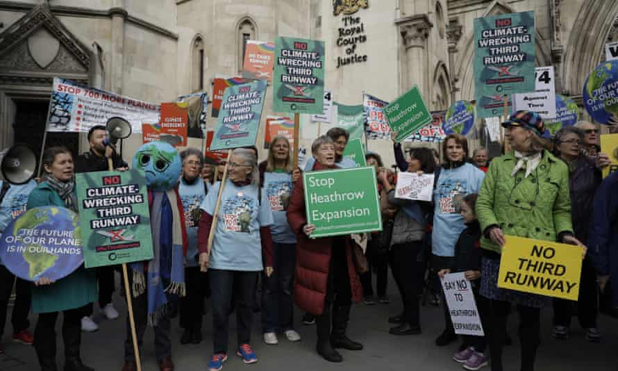Anti-Heathrow expansion campaigners protest outside the court of appeal in London