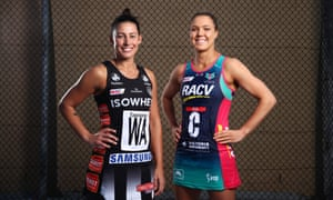 Super Netball stars Madison Robinson of Magpies Netball and Kate Maloney of the Melbourne Vixens.